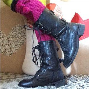 Back Buckle Lace Up Punk Rock Boots